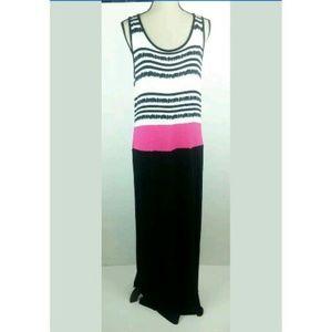 Design History Maxi Dress Striped Black White Pink